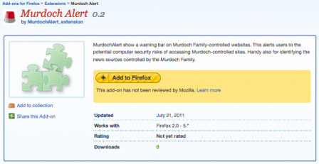 Murdoch Alert plugin for Firefox