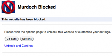 Murdoch Block plugin for Google Chrome